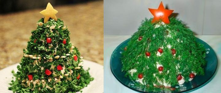 The decoration of salads for the New 2021